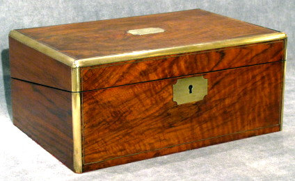 A Mid 19th Century Brass Bound Mahogany Cased Writing Box, English Circa 1840