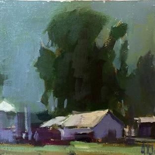 big tree little shed 5x7 oil on canvas s