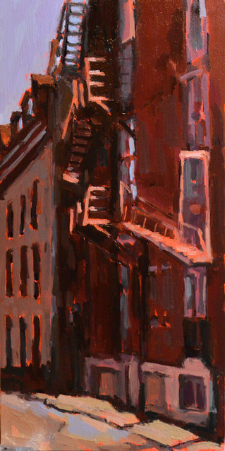 Fire escapes hold a fascination for me.  Simple as that.  This one I've painted a couple of time