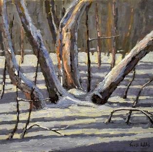 blown snow 16x20 oil on canvas plein air