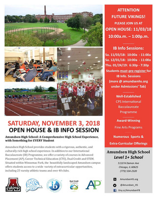 Open House & IB Info Session: Saturday, November 3
