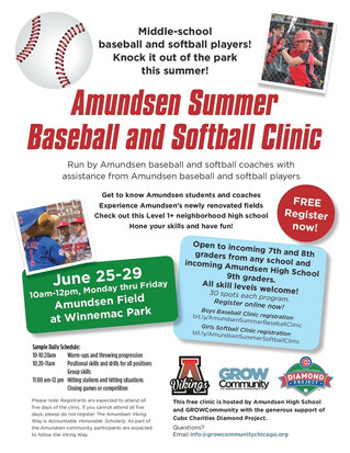 Amundsen Summer Baseball & Softball Clinic June 25-29