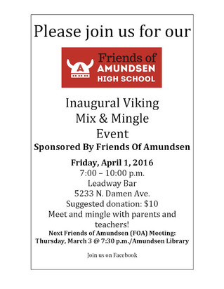 Friends of Amundsen Holds Inaugural Parent Mixer