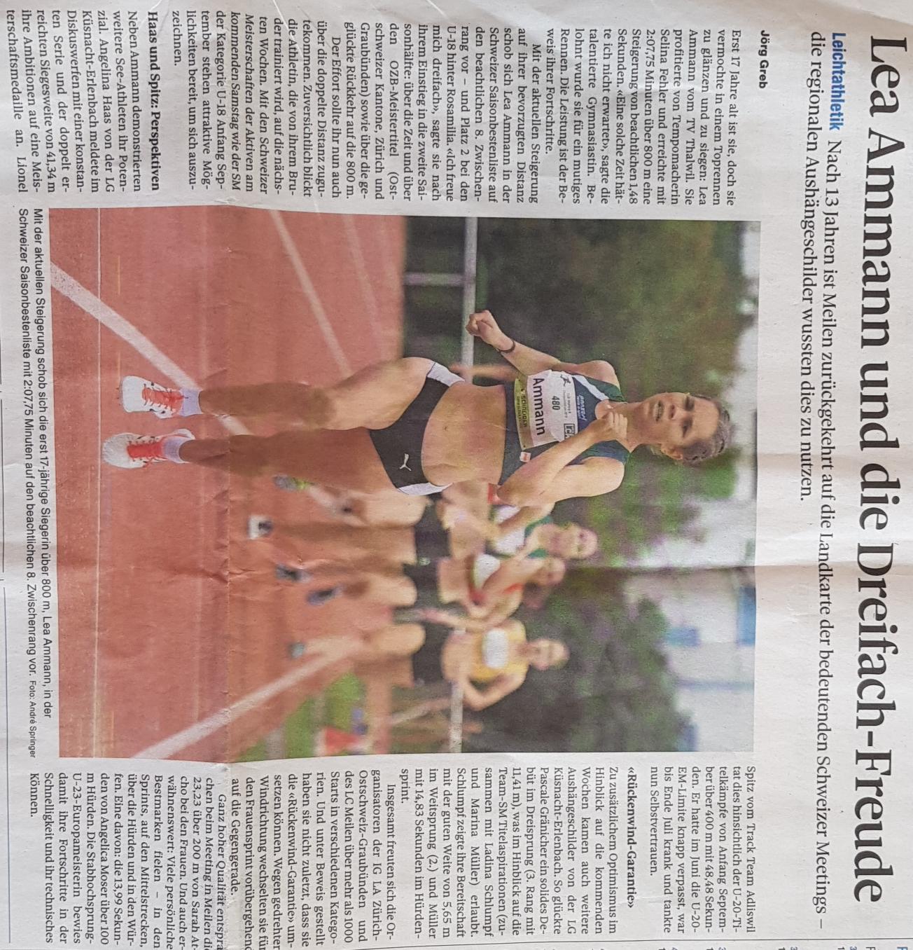 Zeitungsbericht über Lea Ammann