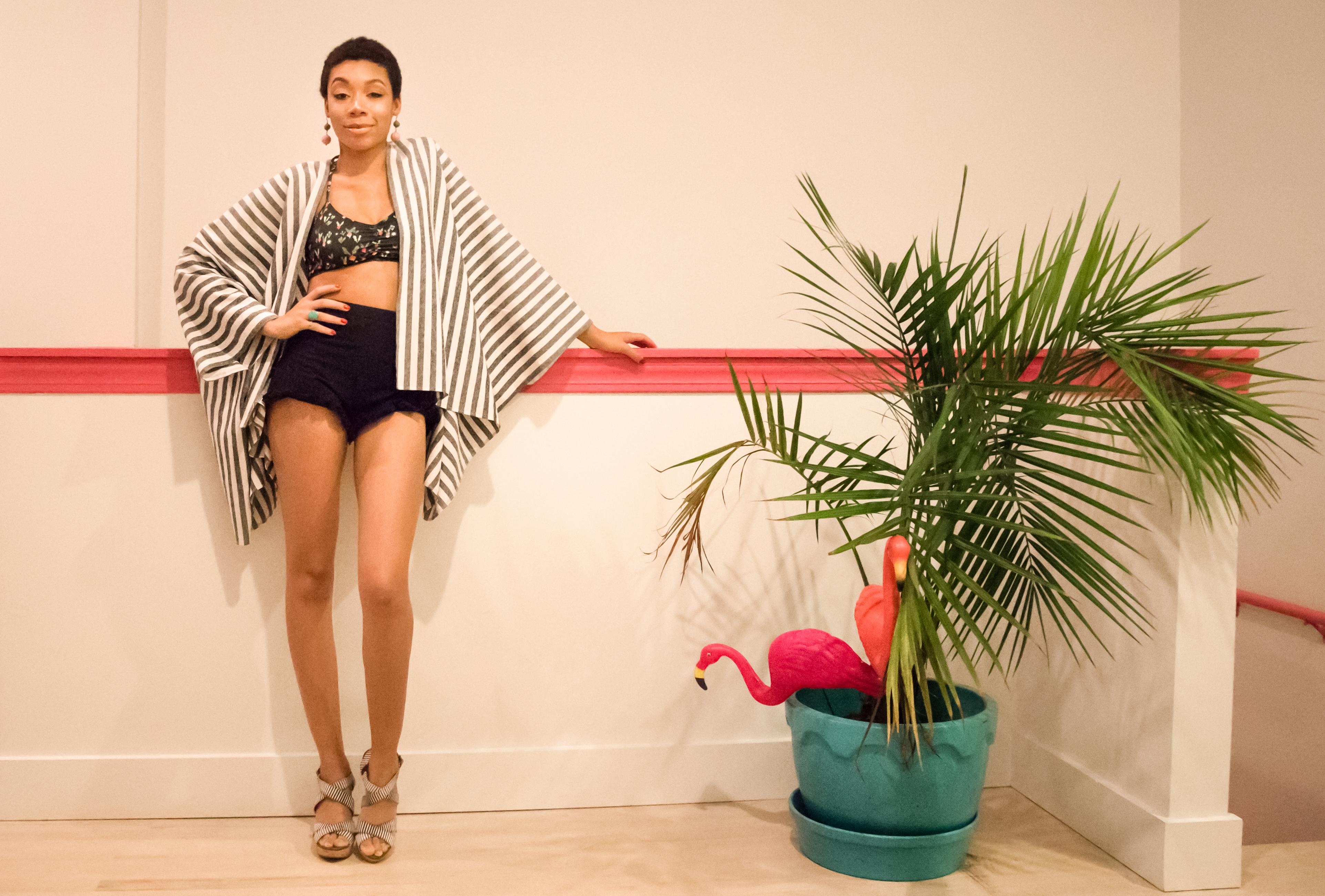 Veruschka wrap, Mia shorts, Bikini