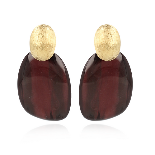 OORBELLEN SARA RESIN ASYMMETRIC OVAAL L WINE RED