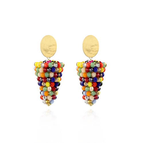 OORBELLEN LUCIA GLASSBERRY BLUNT CONE S UPSIDE DOWN MULTICOLOR