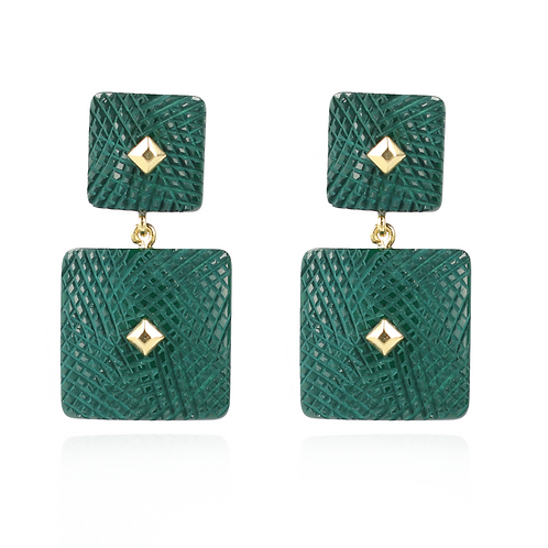 OORBELLEN MAUD RESIN DOUBLE RECTANGLE GREEN