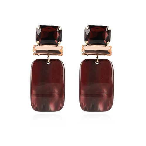 OORBELLEN ABIGAIL RESIN RETANGLE M WINE RED SWAROVSKI