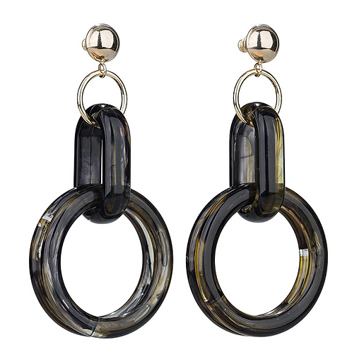 OORBELLEN CAMPS & CAMPS MARBLE OILY BLACK DOUBLE HOOPS
