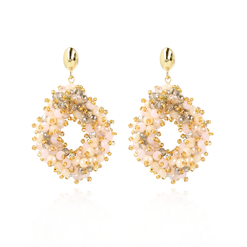 OORBELLEN HOLLY CHAMPAGNE DOUBLE STONES GLASSBERRY ACE L