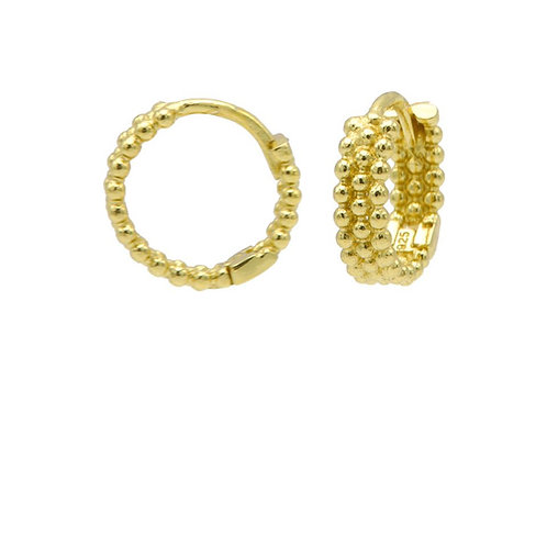 OORBELLEN KARMA PLAIN DOTS ROW HINGED HOOPS