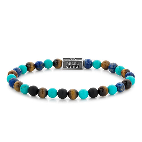 ARMBAND R&R MIX TURQUOISE 925 - 8 MM