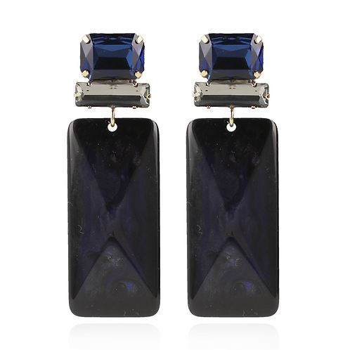 OORBELLEN YASMINE RESIN RECTANGLE L DONKER BLAUW SWAROVSKI