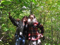 standing on the tree stump with Otis