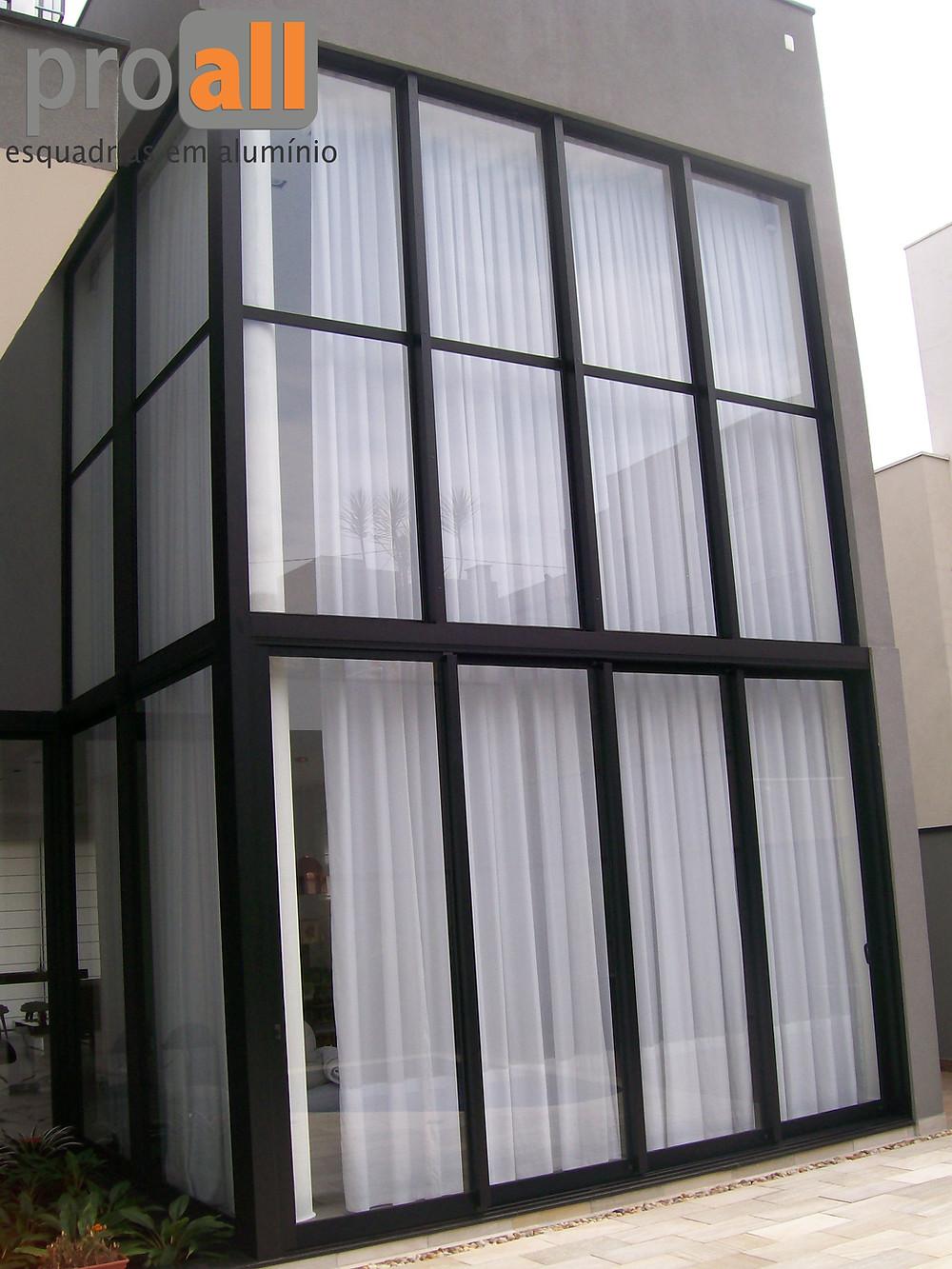 proall esquadrias em alumínio, Esquadrias em Jundiaí, fachada de vidro