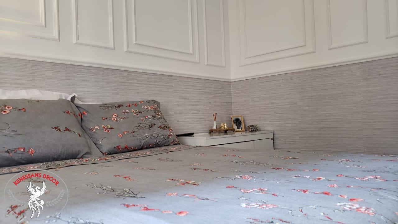 Dorm Casal_Apto_Boiserie_Papel de Parede
