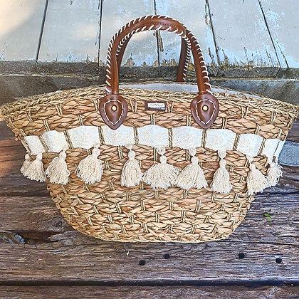 Jumbo Straw Tassel Beach Bag