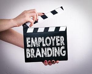 Employer Branding. Female hands holding