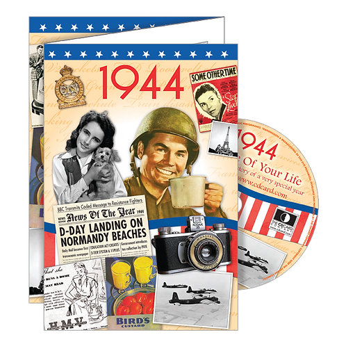 1944 Year Of Birth Greeting Card with DVD