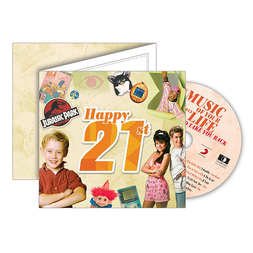 21st Birthday Greeting Card with Hit Songs, Download Code and retro CD