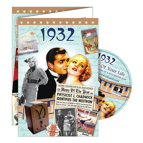 1932 The Time Of Your Life - Year Of Birth Greeting Card with DVD