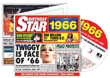 1966 Birthday Star Greeting Card with Hit Songs, Download Code and retro CD