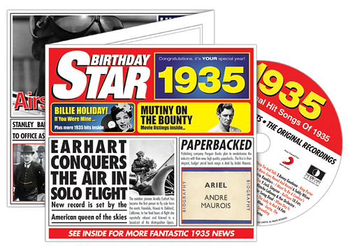 1935 Birthday Star Greeting Card with Hit Songs, Download Code and retro CD