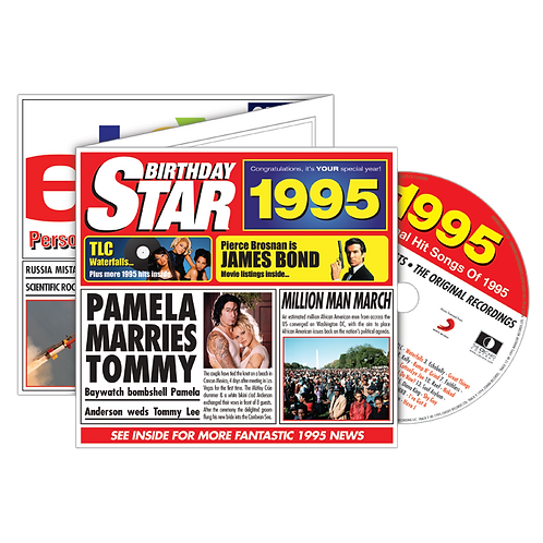 1995 Birthday Star Greeting Card with Hit Songs, Download Code and retro CD