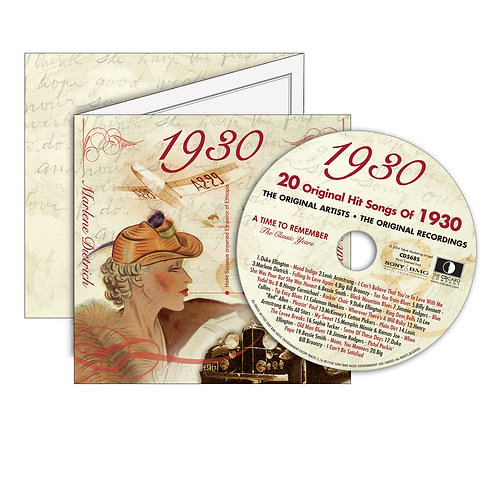 1930 Classic Years - Year Of Birth Music Downloads Greeting Card + Retro CD