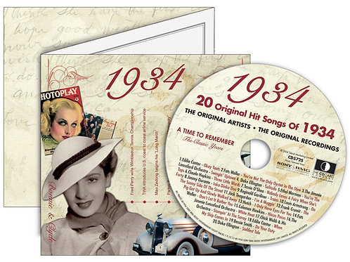 1934 Classic Years Greeting Card with Hit Songs, Download Code and retro CD