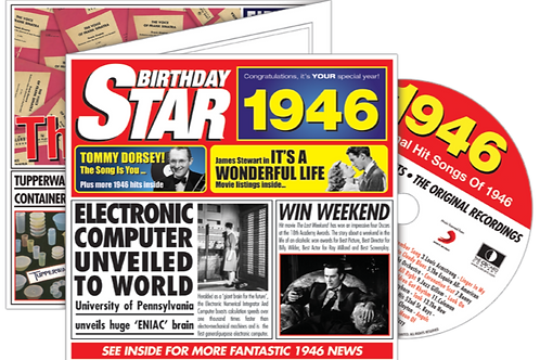 1946 Birthday Star Greeting Card with Hit Songs, Download Code and retro CD