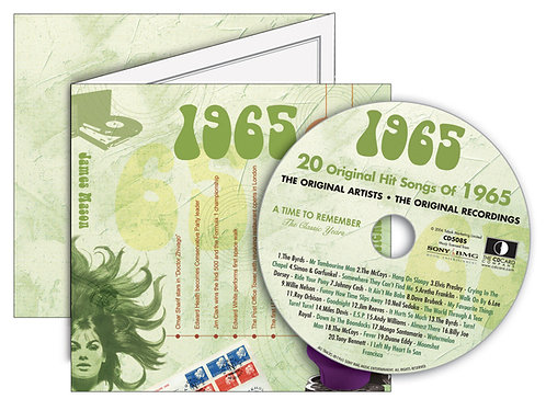 1965 Classic Years Greeting Card with Hit Songs, Download Code and retro CD