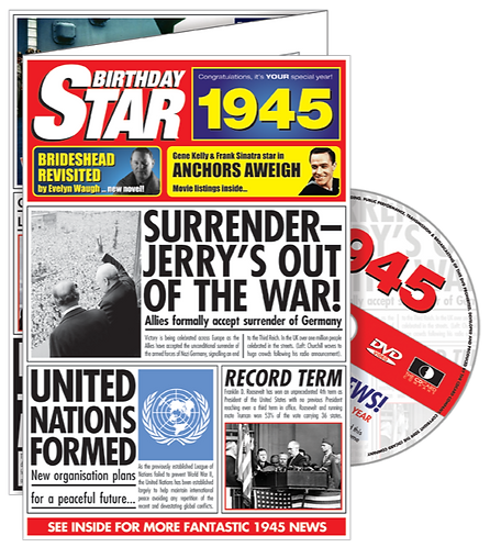 1945 Birthday Star Greeting Card with DVD