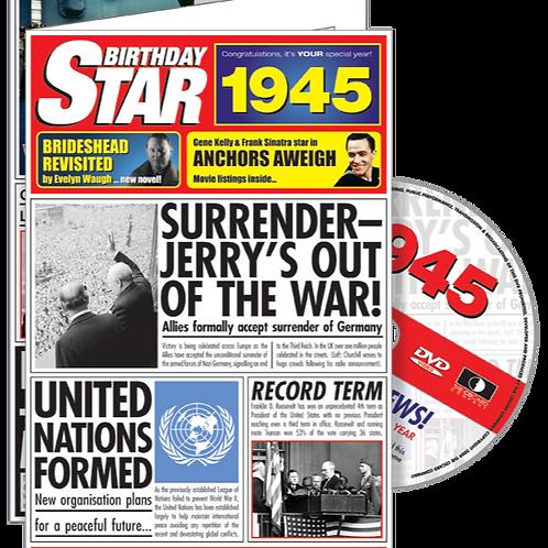 1945 Birthday Star Greeting Card with DVD