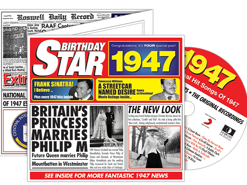 1947 Birthday Star Greeting Card with Hit Songs, Download Code and retro CD