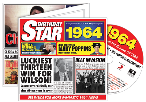 1964 Birthday Star Greeting Card with Hit Songs, Download Code and retro CD