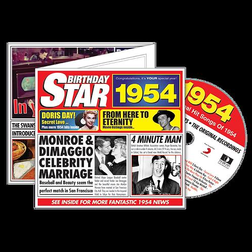1954 Birthday Star - Year Of Birth Music Downloads Greeting Card + Retro CD