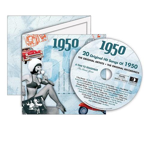 1950 Classic Years - Year Of Birth Music Downloads Greeting Card + Retro CD