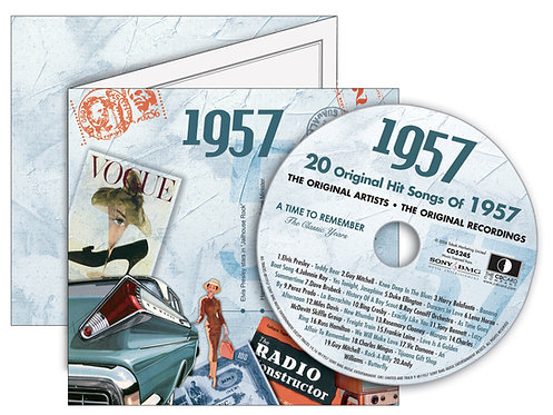 1957 Classic Years Greeting Card with Hit Songs,  Download Code and retro CD