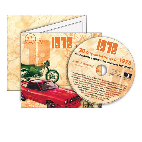 1978 Classic Years - Year Of Birth Music Downloads Greeting Card + Retro CD