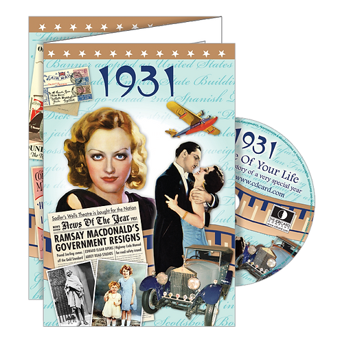 1931 The Time Of Your Life - Year Of Birth Greeting Card with DVD