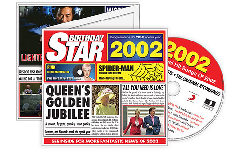 2002 Birthday Star Greeting Card with Hit Songs, Download Code and retro CD