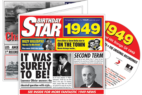1949 Birthday Star Greeting Card with Hit Songs, Download Code and retro CD