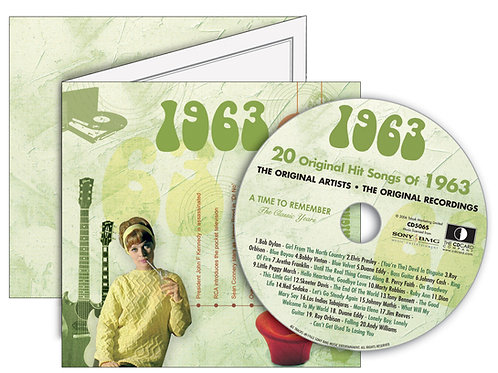 1963 Classic Years Greeting Card with Hit Songs, Download Code and retro CD