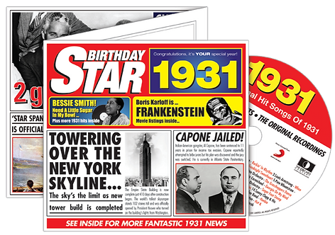 1931 Birthday Star Greeting Card with Hit Songs, Download Code and retro CD