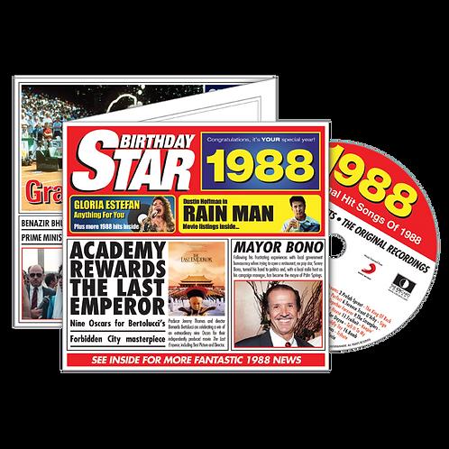 1988 Birthday Star - Year Of Birth Music Downloads Greeting Card + Retro CD