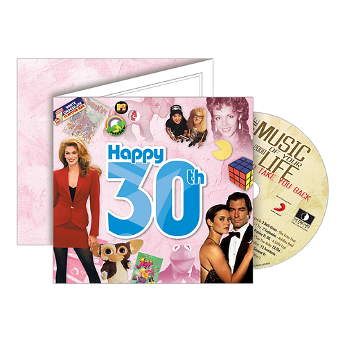 30th Birthday Greeting Card with Hit Songs, Download Code and retro CD