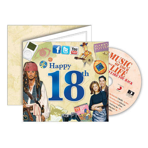 18th Birthday Greeting Card with Hit Songs, Download Code and retro CD