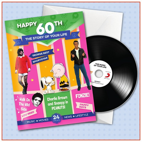 Happy 60th Booklet Card with Hit Songs, Download Code and retro CD